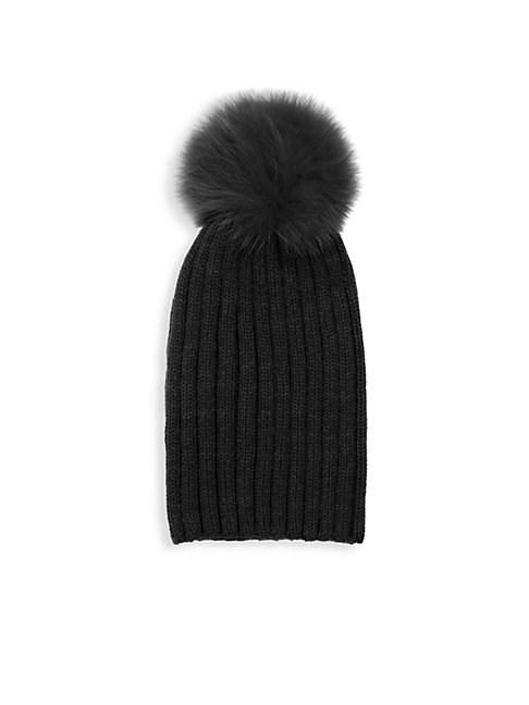 e4579953e37eba Adrienne Landau Dyed Fox Fur Pom Pom Ribbed Beanie In Black | ModeSens