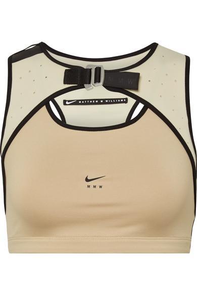 sale uk 100% genuine big sale Matthew Williams Faux Leather-Trimmed Stretch And Mesh Sports Bra in Beige