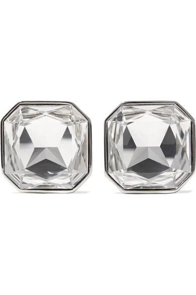Saint Laurent Smoking Silver-Tone Crystal Clip Earrings