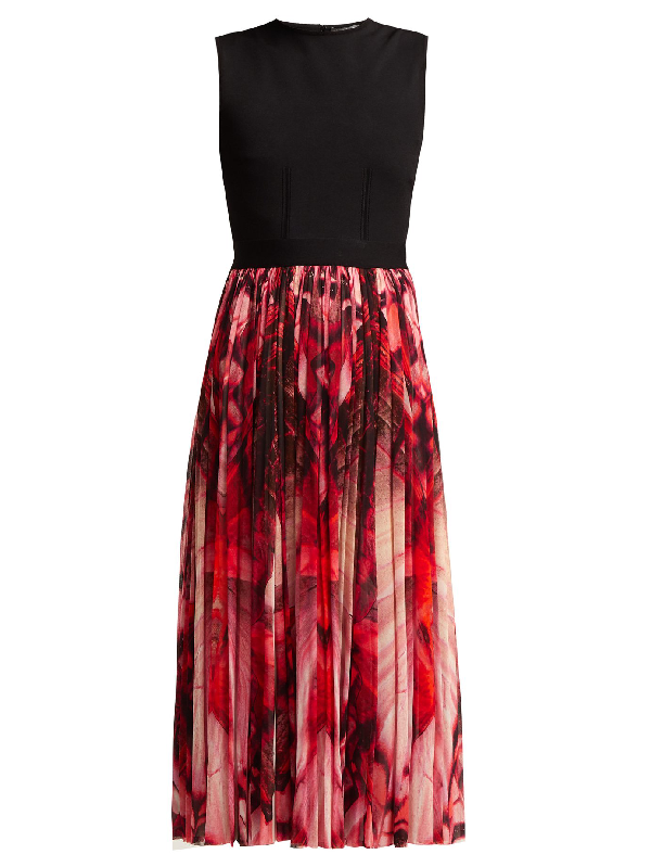 Alexander Mcqueen Butterfly-print Stretch-knit Dress In Red Multi