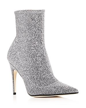 Sergio Rossi Women's Glitter Knit Pointed Toe Booties In Silver