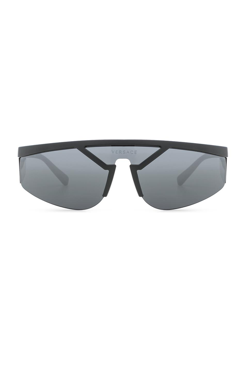 d44167be61e8 Versace Wrap Shield Sunglasses In Matte Black | ModeSens