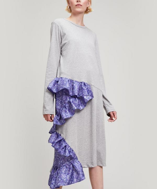 Clu Floral Ruffle T-shirt Dress In Heather Grey