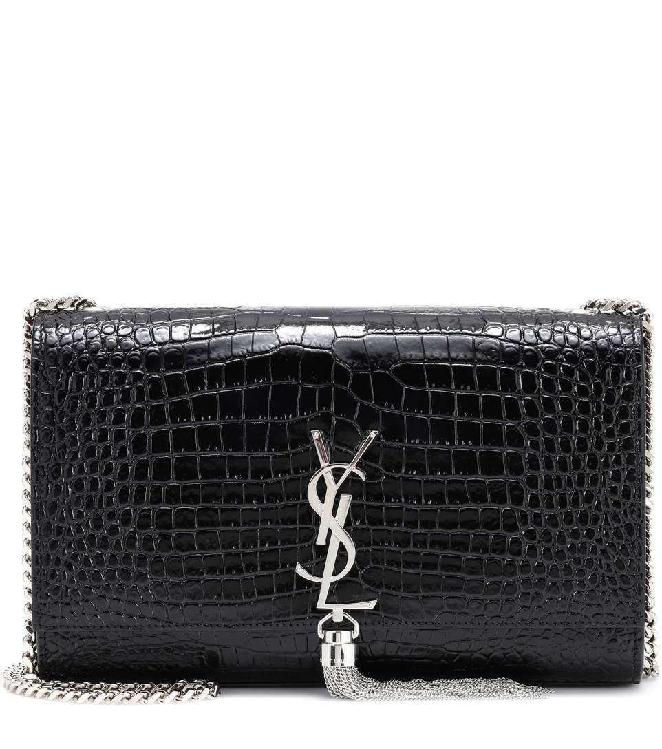 Saint Laurent Medium Kate Tassel Embossed Leather Shoulder Bag In Black