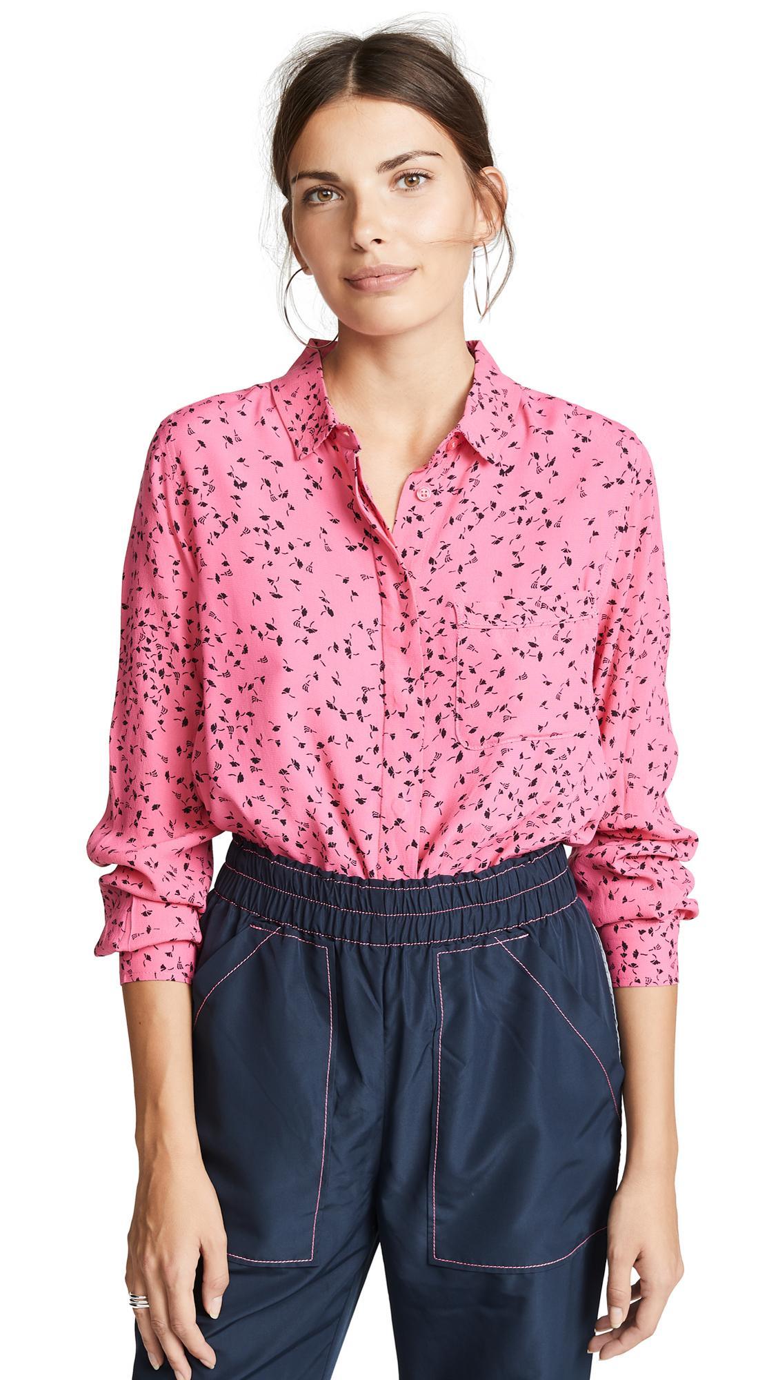 fbc5ec0269 Ganni Barra Button Down Shirt In Hot Pink | ModeSens