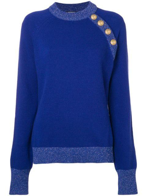 Balmain Shoulder Button Knit Sweater - Blue