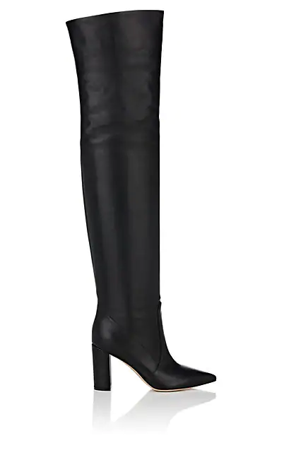 Gianvito Rossi Morgan 85 Over-The-Knee Leather Boots In Black