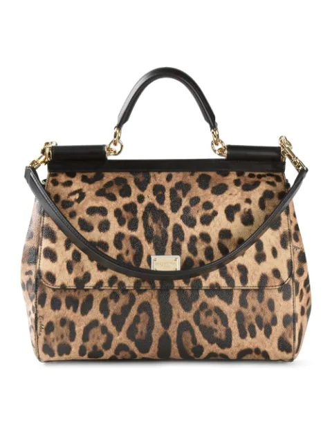 Dolce & Gabbana Sicily Large Leopard-Print Textured Leather Top-Handle Satchel In Neutrals