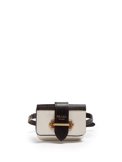 79ae016acb9b Prada - Cahier Leather Belt Bag - Womens - White Black | ModeSens