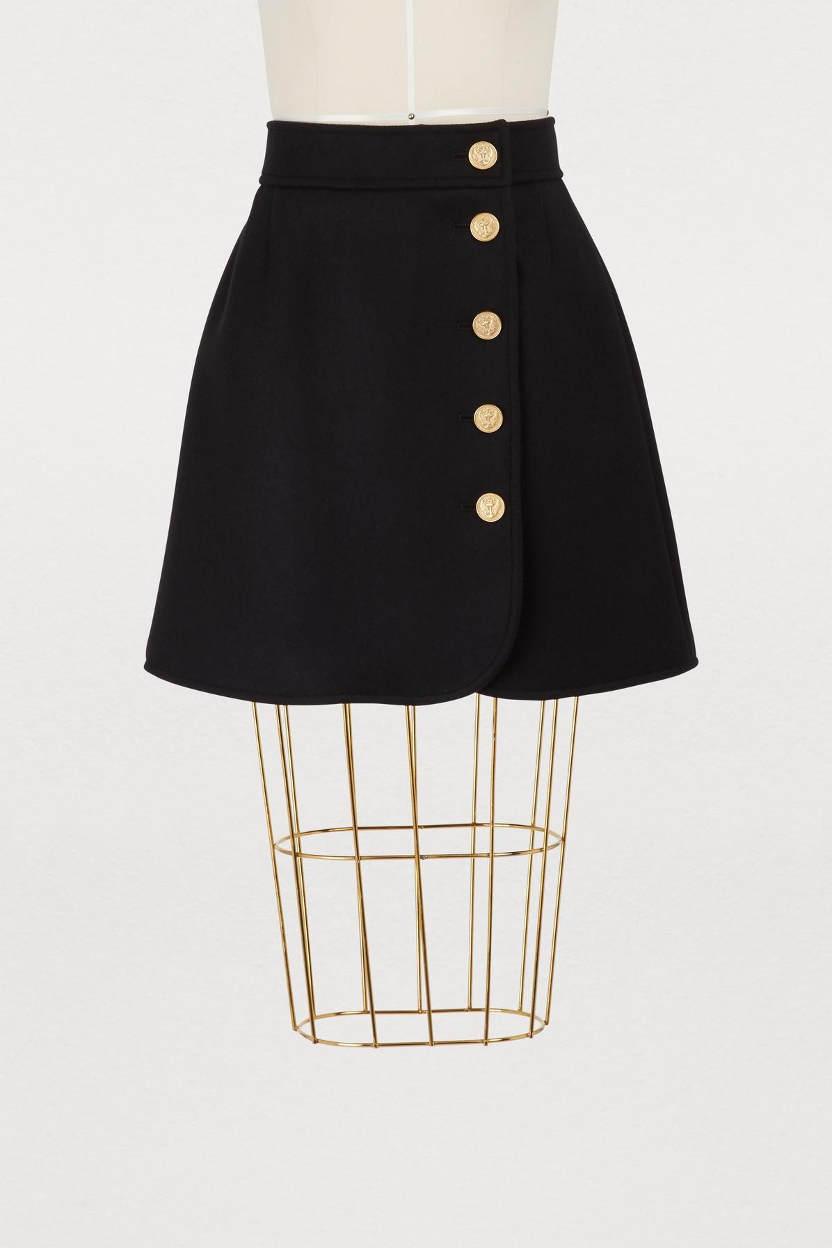 47290527b30f Red Valentino Wool Skirt With Gold Buttons In Nero | ModeSens