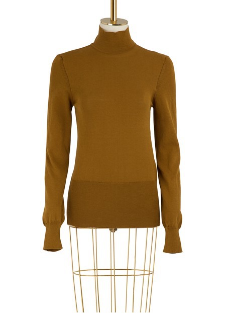 Jacquemus Baya Cotton Turtleneck Sweater In Kaki