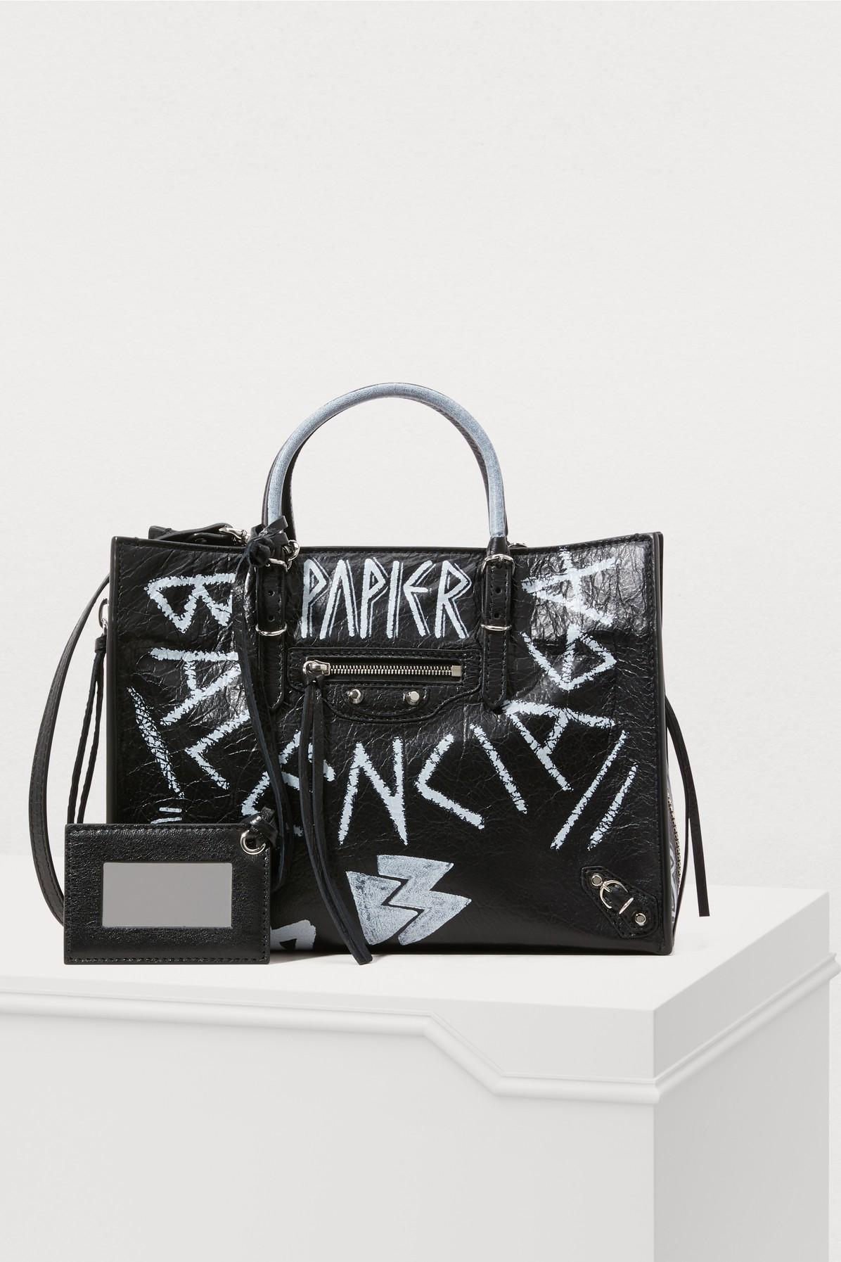79c7e440290521 Balenciaga Papier A6 Zip Around Graffiti Tote Bag In Black/Multi ...