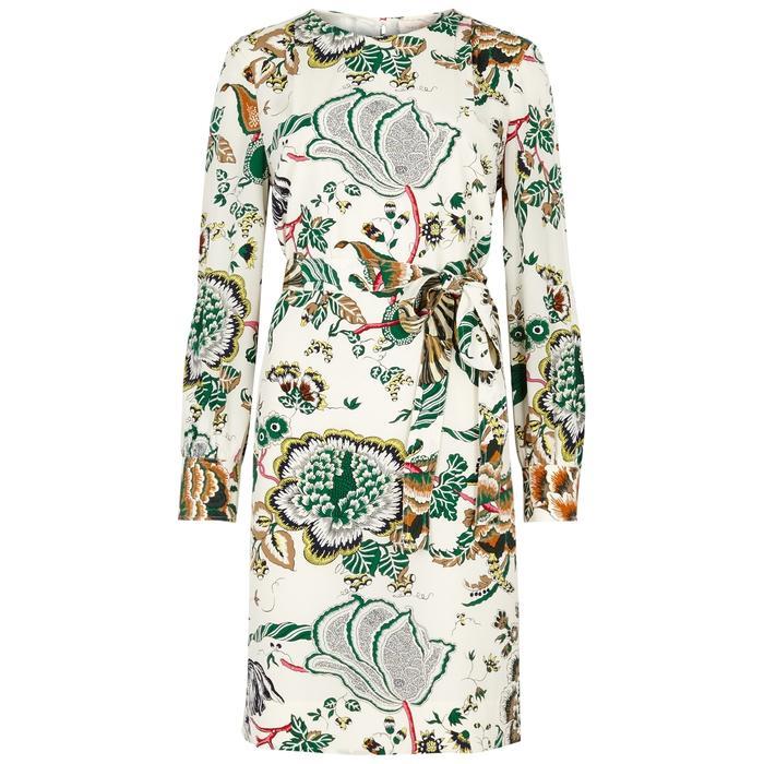 90f04ff2408b18 Tory Burch Marilyn Printed Silk Dress In Cream