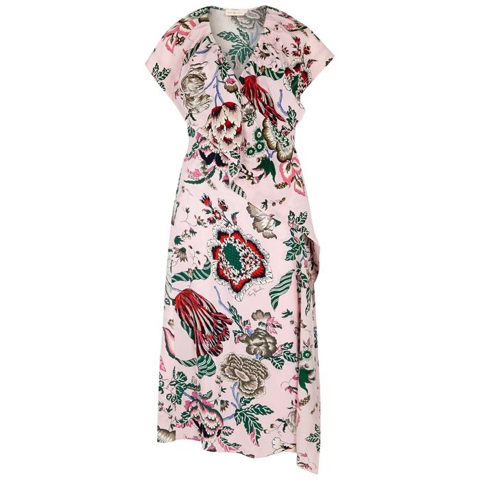 12bd68078a0 Tory Burch Adelia Printed Wrap Dress In Pink Happy Times