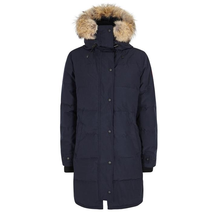Canada Goose Shelburne Navy Fur-Trimmed Parka In Dark Blue