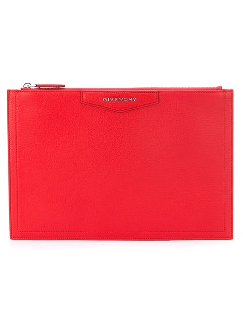 Givenchy Medium Antigona Grained Leather Pouch, Red In Medium Red