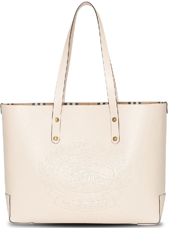 60ea19f608ce Burberry Embossed Crest Small Leather Tote - Ivory In Neutrals ...