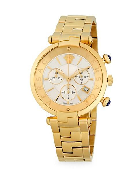 Versace Medusa Stainless Steel Chronograph Watch In Gold