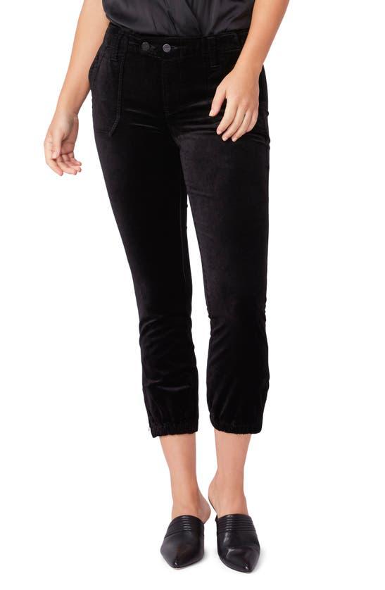 Paige Hoxton Patterned Skinny High-rise Velvet Jeans In Black