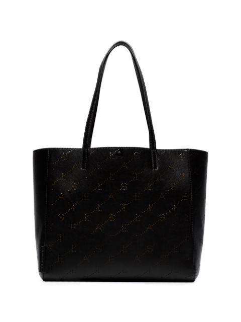 Stella Mccartney Small Logo Faux Leather Tote - Black