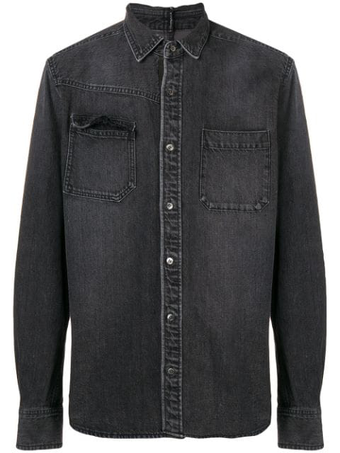 Sacai Longsleeved Denim Shirt  In Black