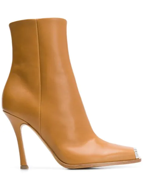 Calvin Klein 205w39nyc Wilamiona Metal-trimmed Leather Ankle Boots In Walnut