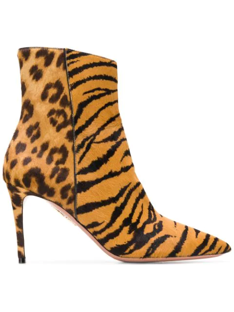 Aquazzura Alma Mid-heel Animal-print Hairhide Booties In Leopard Print