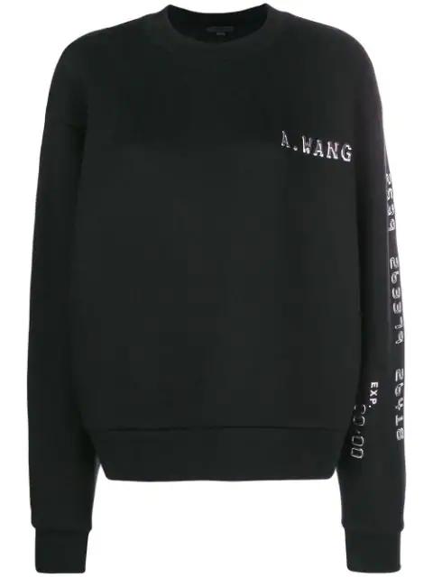 Alexander Wang Terry AppliquÉd Cotton-blend Jersey Sweatshirt In Black