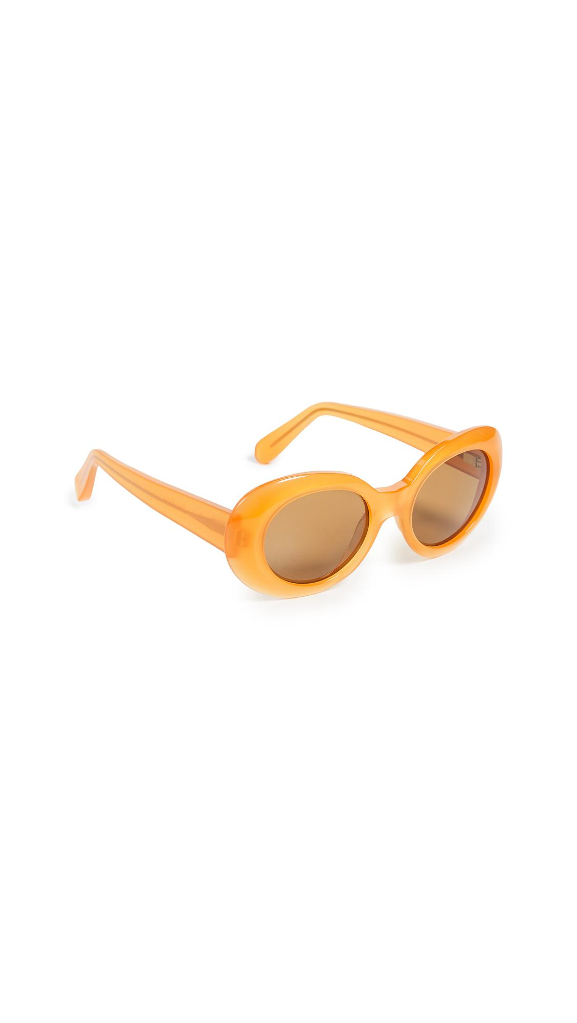 7dab8b2743 Acne Studios Mustang orange brown are handmade oval frame acetate sunglasses.  Acetate frame 100% UV protection. Nose pads in frame
