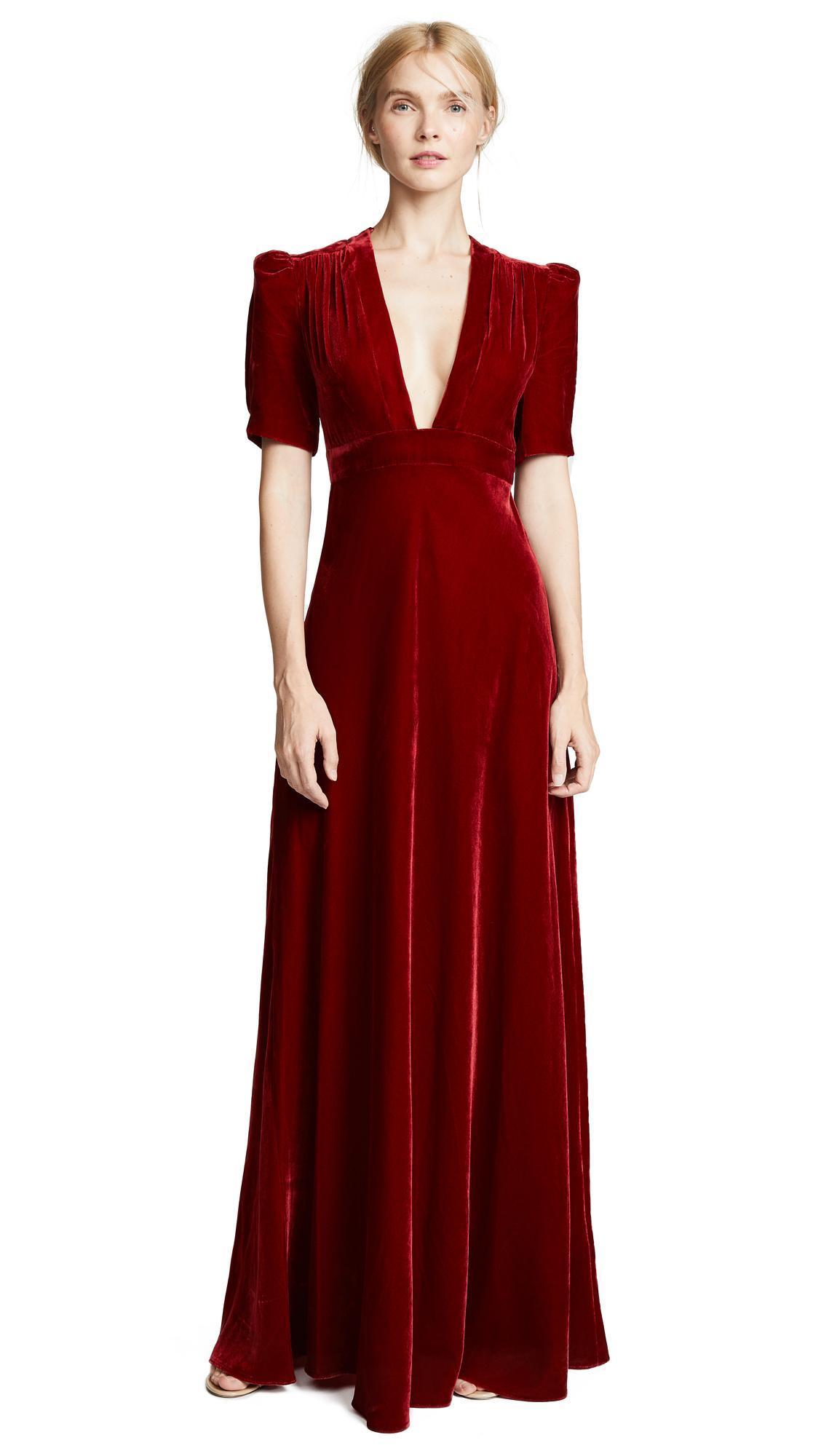 ff9ab810dc5b Jill Jill Stuart Plunging Velvet Gown In Ruby