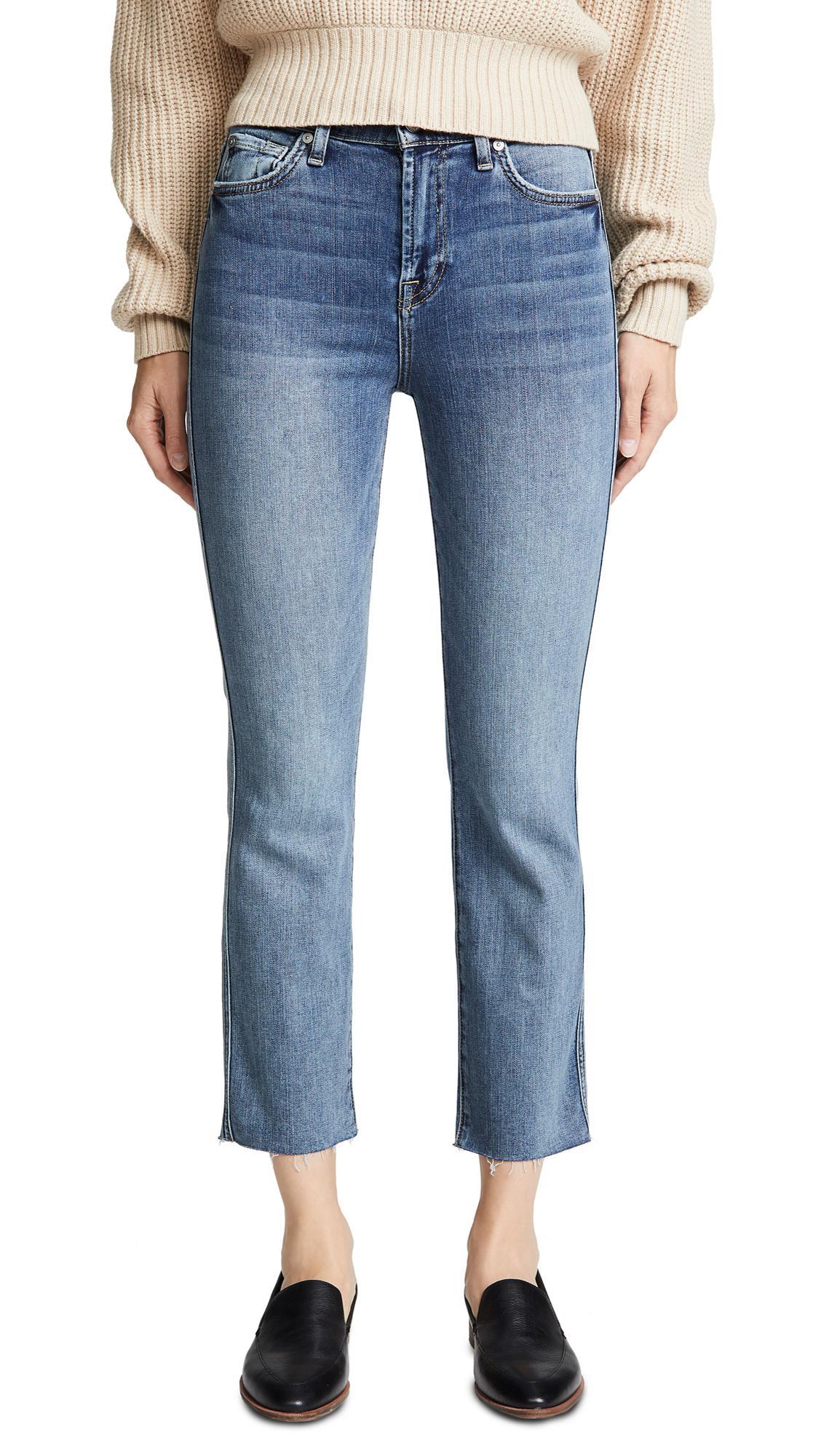 9faf9e96baa 7 For All Mankind Edie B(Air) Authentic Raw Hem Jeans In B(Air ...