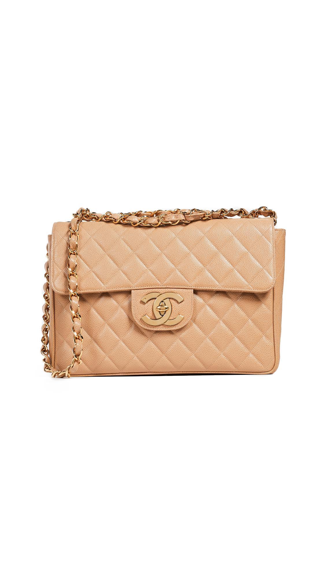 6156364b15cd What Goes Around Comes Around Chanel Caviar Half Flap Jumbo Bag In Beige