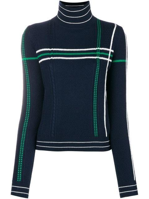 Carven Striped High Neck Knit Sweater In Blue