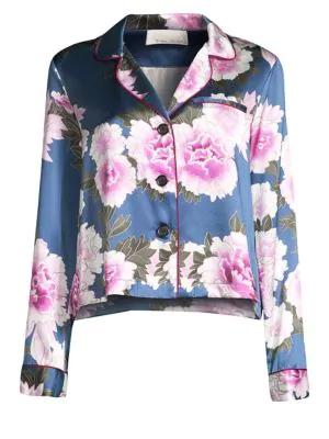 Fleur Du Mal Floral-Print Silk Satin Pajama Top In Caspian Floral