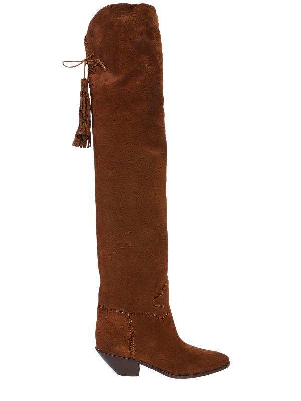 Saint Laurent West High Texano Boot In Tan