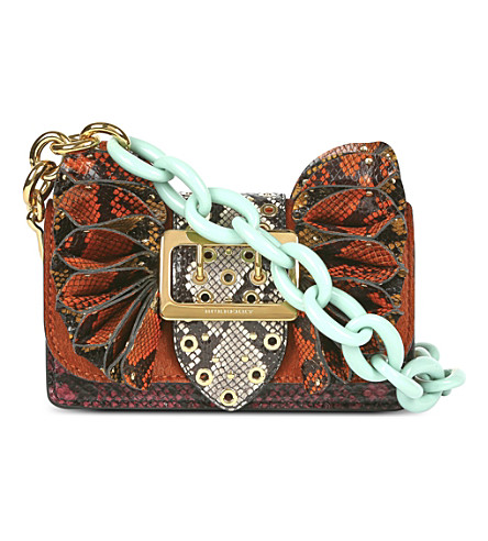 9699a3f01f13 Burberry Ruffled Python And Leather Cross-Body Bag In Redwood