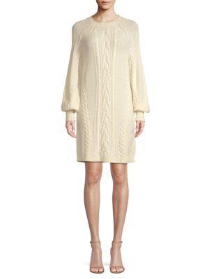 Sweater Wool Knit Dress In Natural Aran TXukZiOP