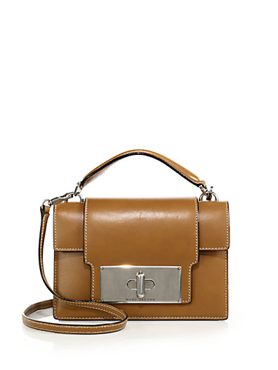 Marc Jacobs Mischief Topstitched Leather Satchel In Toffee