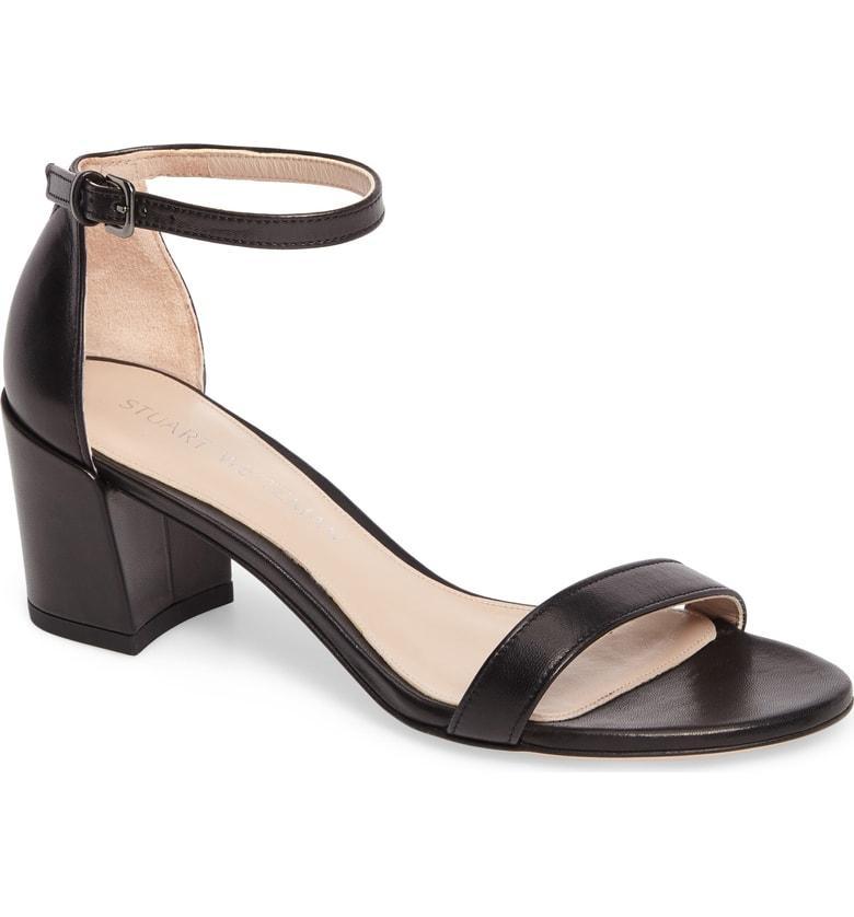 Stuart Weitzman Simple Ankle Strap Sandal In Black Nappa