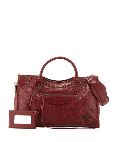 Balenciaga Classic City Lambskin Tote Bag, 4313Bleu L In Cherry Red