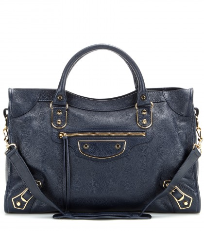 Balenciaga Dark Blue Lambskin 'Mini City' Convertible Satchel