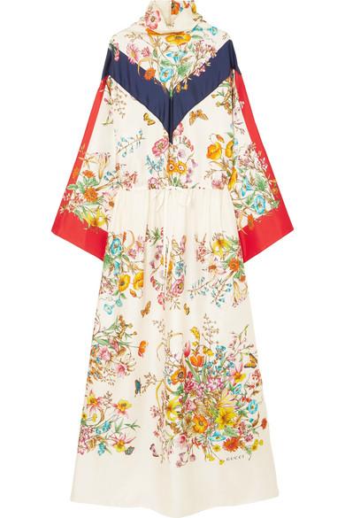 6dedbc71995 Gucci Floral-Print Silk-Twill Maxi Dress In Ivory