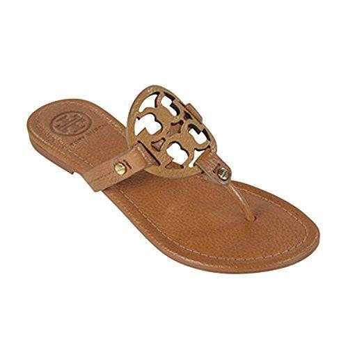 ddb9e5b48 Tory Burch Miller Flip Flop Leather Thong Sandal Logo In Royal Tan ...
