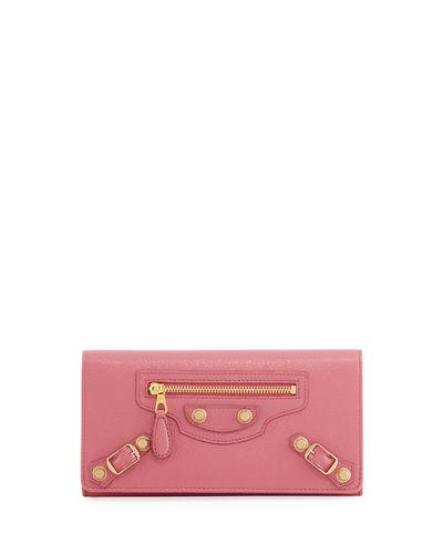 Balenciaga Giant 12 Golden Money Lambskin Wallet, 6513Rouge In Red