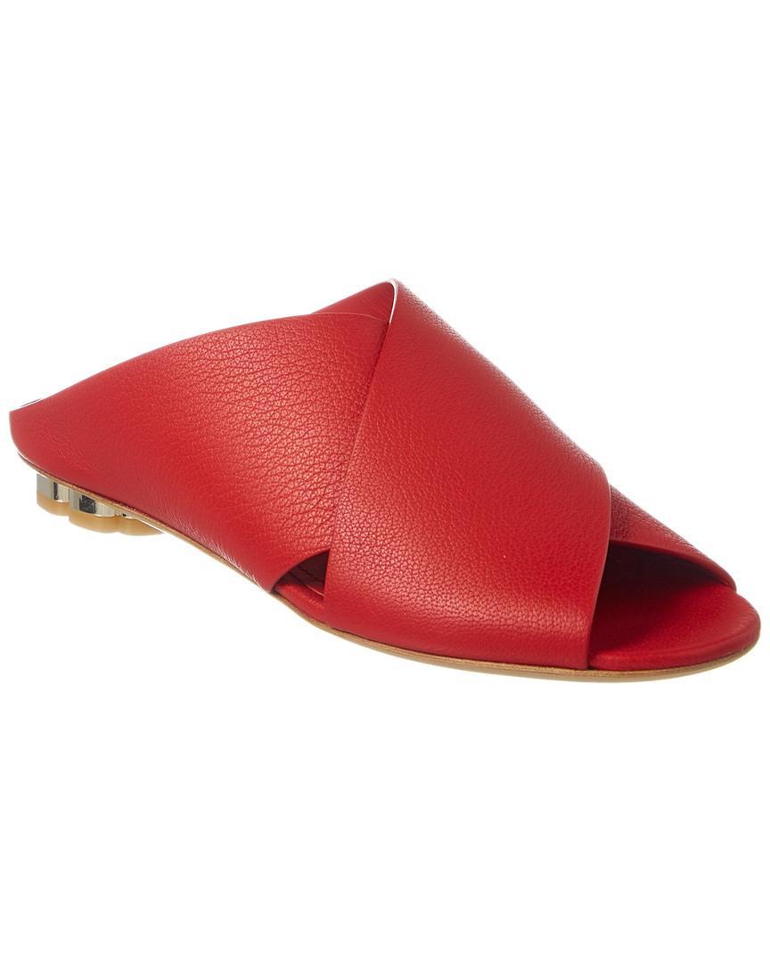 Salvatore Ferragamo Lasa Leather Sandal In Red