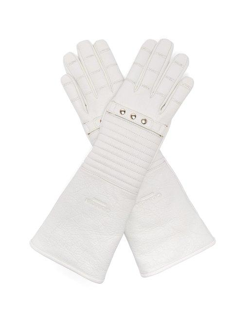 Calvin Klein 205W39Nyc Padded Leather Gloves In White