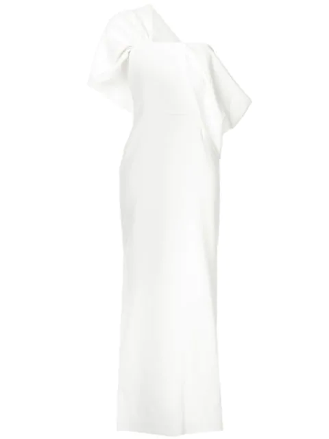 Osman Adalyn One-shoulder Crepe Gown In White