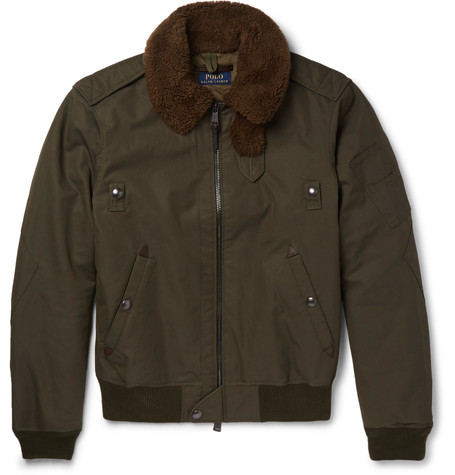 4c86dadcb Polo Ralph Lauren Shearling-Trimmed Cotton-Blend Twill Down Bomber Jacket