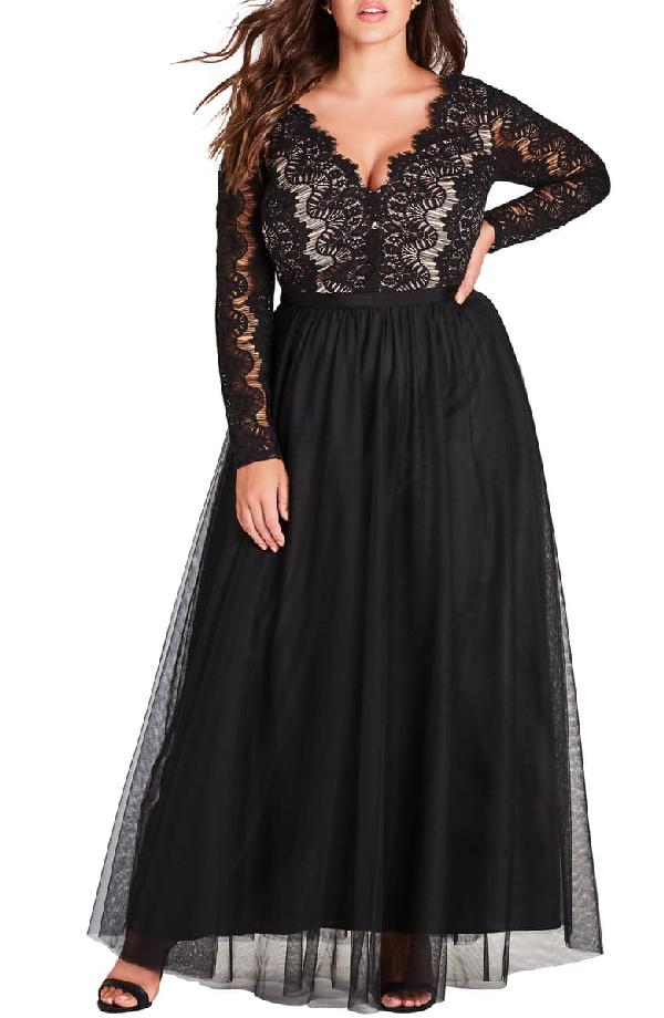 Trendy Plus Size Lace Maxi Dress In Black