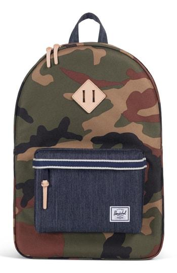 b7182438a8e Herschel Supply Co. Heritage Offset Denim Backpack - Green In Woodland  Camo  Dark Denim